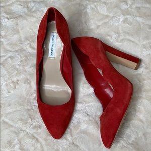 Saks Fifth Avenue   Red Shandy Suede Block Heels